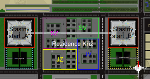 orientační mapa Šťastný Start a Rezidence Kříž